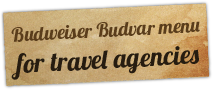 Budweiser Budvar menu for travel agencies